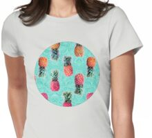 From Pineapple to Pink - tropical doodle pattern on mint Womens Fitted T-Shirt