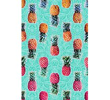 From Pineapple to Pink - tropical doodle pattern on mint Photographic Print