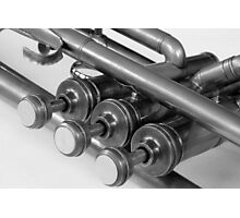 Vintage Brass Trumpet Valves and Tubes in B&W Photographic Print