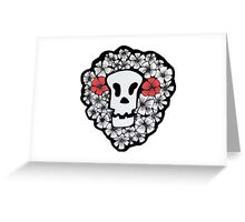 Red Floral Skull Greeting Card