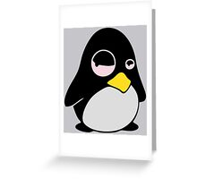 LAZY LINUX TUX PENGUIN Greeting Card