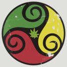 Reggae Love Vibes - Cool Weed Pot Reggae Rasta T-Shirt Stickers and Art Prints with Grunge Texture by Denis Marsili