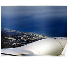 Watercolor - Flying Over Miami Poster