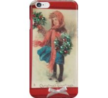 Vintage Greeting Card Art Holly Seller iPhone Case/Skin