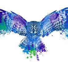 Blue owl flying - color splash by Redilion