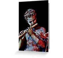 Ancient Stone Flute Player Greeting Card