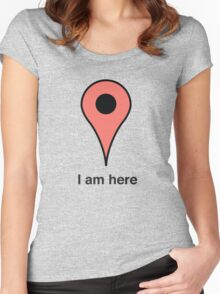 I am here place marker Women's Fitted Scoop T-Shirt