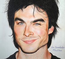 Portrait Drawing Print of Ian Somerhalder by Aelyah