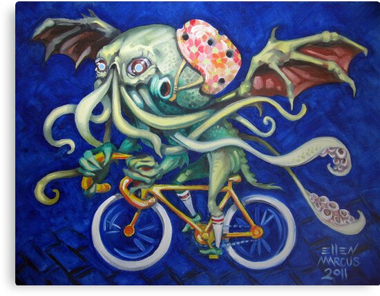 Cthulhu On A Bicycle by Ellen Marcus