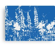 Silhoutte of Flowers in Blue and White Canvas Print