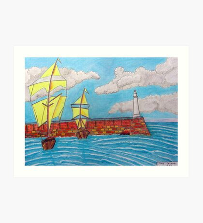 392 - TYNEMOUTH PIER - DAVE EDWARDS - COLOURED PENCILS - 2013 Art Print