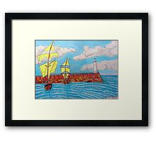 392 - TYNEMOUTH PIER - DAVE EDWARDS - COLOURED PENCILS - 2013 Framed Print