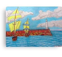 392 - TYNEMOUTH PIER - DAVE EDWARDS - COLOURED PENCILS - 2013 Canvas Print