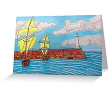 392 - TYNEMOUTH PIER - DAVE EDWARDS - COLOURED PENCILS - 2013 Greeting Card