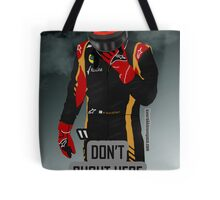 """Don't shout"" Kimi Raikkonen team radio Tote Bag"