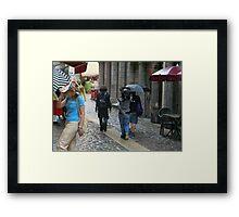 Caught in the rain Framed Print