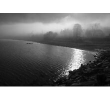Ocean-side village in fog Photographic Print