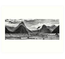 Milford Sound in Monochrome Art Print