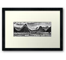 Milford Sound in Monochrome Framed Print