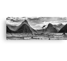 Milford Sound in Monochrome Canvas Print