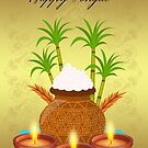 Happy Pongal, with a Pot Of Rice And Plants by Moonlake