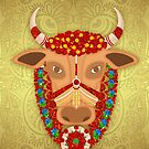 Happy Pongal, with Golden effect background and adorned cow by Moonlake