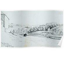 Pencil sketch of Bideford in Devon, 1904 Poster