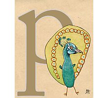 P is for PEACOCK Photographic Print