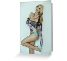Seductive portrait of sexy blond model in the studio Greeting Card