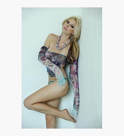 Seductive portrait of sexy blond model in the studio Photographic Print