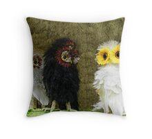 Fluffy Owls On A Shelf Throw Pillow