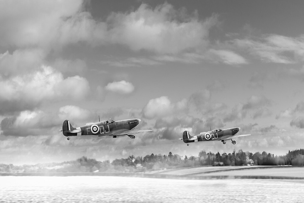 Winter ops: Spitfires, black and white version by Gary Eason