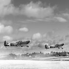Winter ops: Spitfires, black and white version by Gary Eason + Flight Artworks