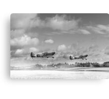 Winter ops: Spitfires, black and white version Canvas Print