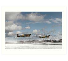 Winter ops: Spitfires Art Print