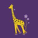 Purple Cartoon Funny Giraffe Roller Skating by Boriana Giormova