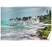 Hurricane Sandy playing around on Eastern Road in Nassau, The Bahamas Poster