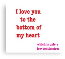 I Love You To The Bottom Of My Heart Which Is Only A Few Centimetres Canvas Print