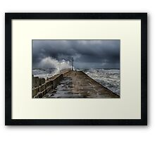 storm at porthleven Framed Print