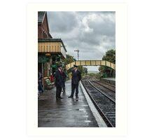 Chatting on a wet Platform 2 Art Print
