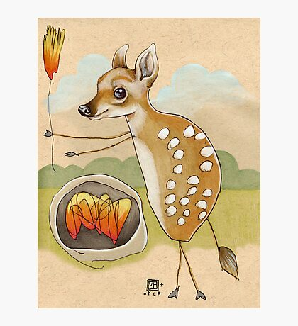 Camping Deer Photographic Print