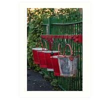 Five red buckets Art Print