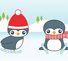 Ice Skating Christmas Penguins by destei