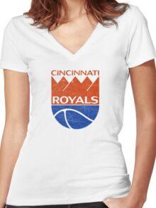 Cincinnati Royals - Distressed Women's Fitted V-Neck T-Shirt