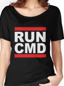 Run Command White Text Women's Relaxed Fit T-Shirt