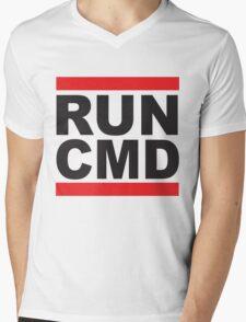 Run Command Black Text Mens V-Neck T-Shirt
