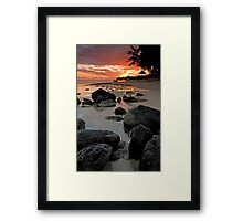 Rocky shoreline in Mauritius Framed Print