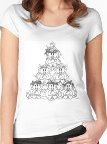Christmas Penguin Pile!  Women's Fitted Scoop T-Shirt