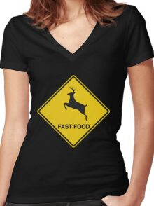 Deer. Fast Food Women's Fitted V-Neck T-Shirt