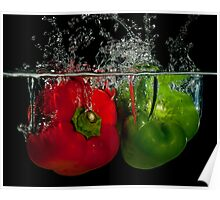 Splashing peppers Poster